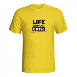 Moška majica Life without cats?