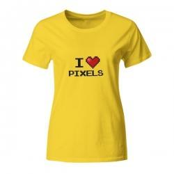 Ženska računalniška majica I love pixels