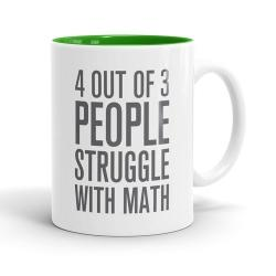 Skodelica 4 out of 3 people struggle with math