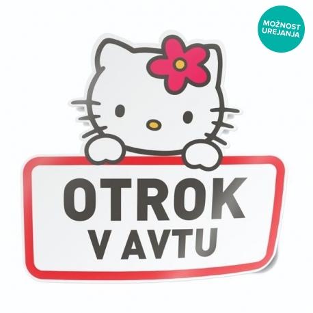 Hello Kitty nalepka za avto z lastnim napisom