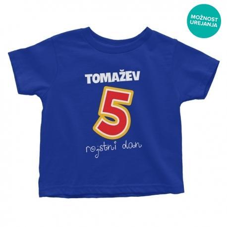 Otroška majica Tomažev 5. rojstni dan (besedilo po želji)