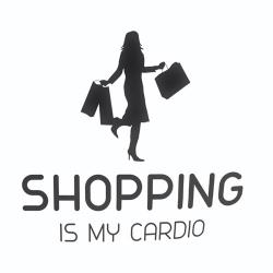 Nalepka za avto Shopping is my Cardio