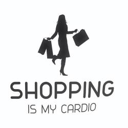 Nalepka za avto Shopping is my Cardio