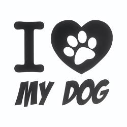 Nalepka za avto I love my dog