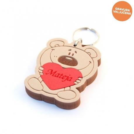 Medvedek s srčkom obesek za ključe