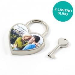 Srebrna ključavnica ljubezni s fotografijo