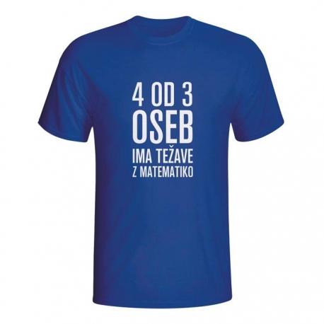 Moška majica 4 od 3 oseb ima težave z matematiko